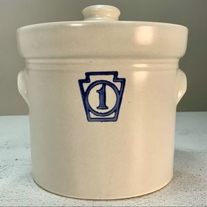 VINTAGE PFALTZGRAFF YORKTOWN SMALL # 1 STONEWARE CANISTER WITH LID